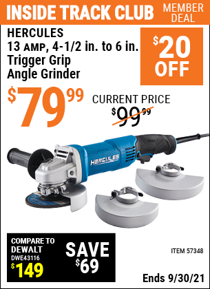 Harbor Freight Tools Coupons, Harbor Freight Coupon, HF Coupons-Corded 4-1/2 in. to 6 in.  13 Amp Angle Grinder with Trigger Grip