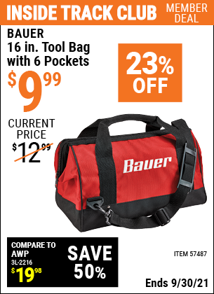 Harbor Freight Tools Coupons, Harbor Freight Coupon, HF Coupons-16 In. Tool Bag With 6 Pockets