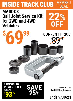 Harbor Freight Tools Coupons, Harbor Freight Coupon, HF Coupons-Ball Joint Service Kit For 2wd And 4wd Vehicles