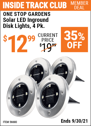 Harbor Freight Tools Coupons, Harbor Freight Coupon, HF Coupons-Solar LED Inground Disk Lights, 4 Pk.