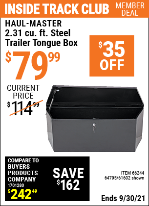 Harbor Freight Tools Coupons, Harbor Freight Coupon, HF Coupons-2-1/4 Cubic Ft. Steel Trailer Tongue Box