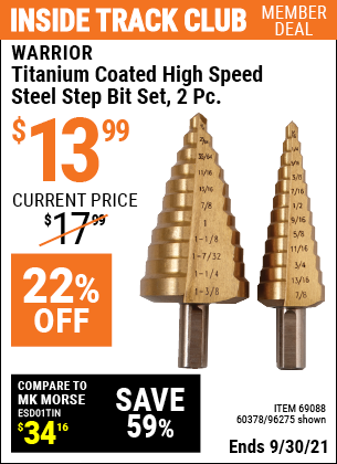 Harbor Freight Tools Coupons, Harbor Freight Coupon, HF Coupons-2 Piece Titanium Nitride Coated High Speed Steel Step Drill Bits