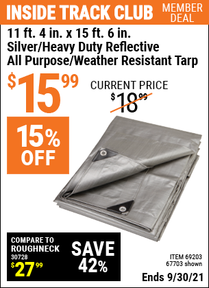 Harbor Freight Tools Coupons, Harbor Freight Coupon, HF Coupons-11 Ft. 4 In. X 15 Ft. 6 In. Silver/heavy Duty Reflective All Purpose/weather Resistant Tarp