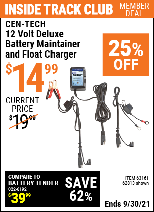 Harbor Freight Tools Coupons, Harbor Freight Coupon, HF Coupons-12v Deluxe Battery Maintainer and Float Charger