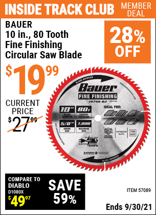 Harbor Freight Tools Coupons, Harbor Freight Coupon, HF Coupons-10 in. 80T Fine Finishing Circular Saw Blade