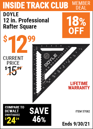 Harbor Freight Tools Coupons, Harbor Freight Coupon, HF Coupons-12 in. Professional Rafter Square