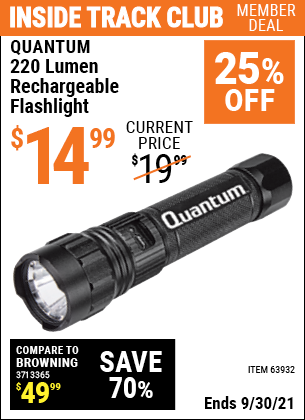 Harbor Freight Tools Coupons, Harbor Freight Coupon, HF Coupons-220 Lumens Rechargeable Mechanic's Flashlight