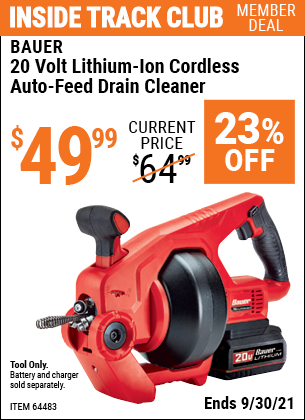 Harbor Freight Tools Coupons, Harbor Freight Coupon, HF Coupons-20v Lithium-Ion Cordless Auto-Feed Drain Cleaner - Tool Only