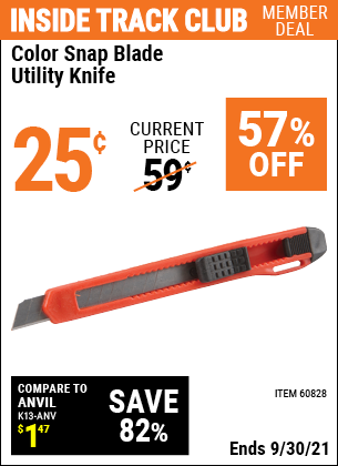 Harbor Freight Tools Coupons, Harbor Freight Coupon, HF Coupons-Color Snap Blade Utility Knife