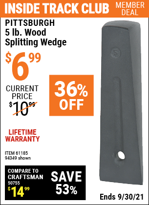 Harbor Freight Tools Coupons, Harbor Freight Coupon, HF Coupons-5 Lb. Wood Splitting Wedge