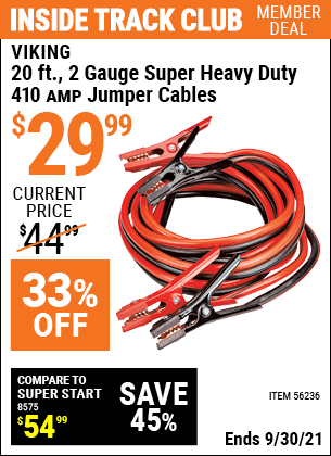 Harbor Freight Tools Coupons, Harbor Freight Coupon, HF Coupons-20 Ft., 2 Gauge Heavy Duty Booster Cables