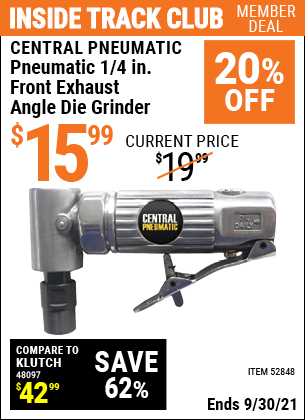Harbor Freight Tools Coupons, Harbor Freight Coupon, HF Coupons-CENTRAL PNEUMATIC 1/4 in. Front Exhaust Angle Die Grinder for $14.99