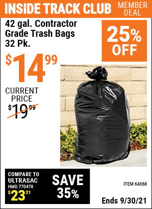 Harbor Freight Tools Coupons, Harbor Freight Coupon, HF Coupons-24 Gallon Contractor Grade Trash Bags Pack Of 32