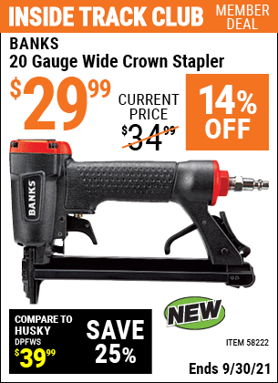 Harbor Freight Tools Coupons, Harbor Freight Coupon, HF Coupons-20 Gauge Wide Crown Stapler