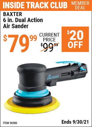 Harbor Freight Tools Coupons, Harbor Freight Coupon, HF Coupons-BAXTER 6 In. Dual Action Air Sander for $79.99