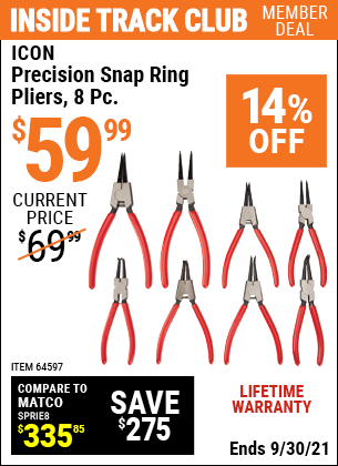 Harbor Freight Tools Coupons, Harbor Freight Coupon, HF Coupons-8 Piece Precision Snap Ring Pliers Icon