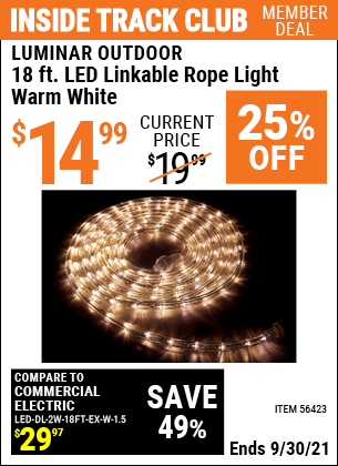 Harbor Freight Tools Coupons, Harbor Freight Coupon, HF Coupons-Luminar Outdoor 18 Ft. Plug In Rope Light