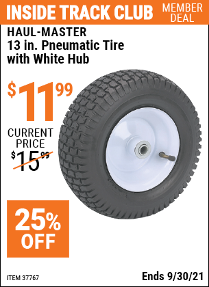 Harbor Freight Tools Coupons, Harbor Freight Coupon, HF Coupons-13 in. Pneumatic Tire with White Hub