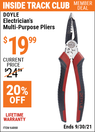 Harbor Freight Tools Coupons, Harbor Freight Coupon, HF Coupons-Electrician's Multi-Purpose Pliers