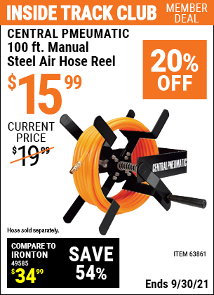 Harbor Freight Tools Coupons, Harbor Freight Coupon, HF Coupons-100 Ft. Manual Steel Air Hose Reel