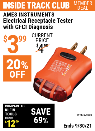 Harbor Freight Tools Coupons, Harbor Freight Coupon, HF Coupons-Electrical Receptacle Tester With Gfci Diagnosis