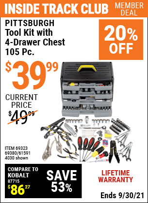 Harbor Freight Tools Coupons, Harbor Freight Coupon, HF Coupons-105 Piece Tool Kit With 4-drawer Chest