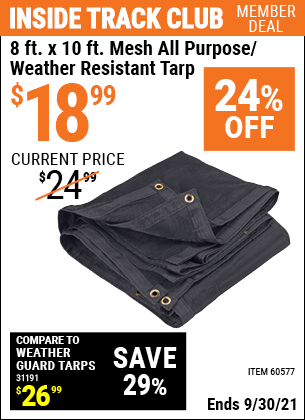 Harbor Freight Tools Coupons, Harbor Freight Coupon, HF Coupons-8 Ft. X 10 Ft. Mesh Weather Resistant Tarp