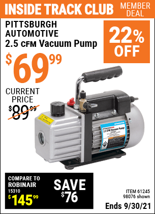 Harbor Freight Tools Coupons, Harbor Freight Coupon, HF Coupons-2.5 Cfm Vacuum Pump