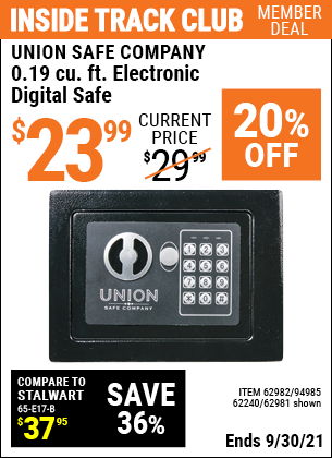 Harbor Freight Tools Coupons, Harbor Freight Coupon, HF Coupons-0.19 Cubic Ft. Electronic Digital Safe