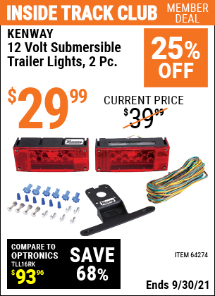 Harbor Freight Tools Coupons, Harbor Freight Coupon, HF Coupons-2 Piece Submersible Trailer Lights