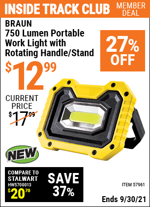 Harbor Freight Tools Coupons, Harbor Freight Coupon, HF Coupons-750 Lumen  Portable Work Light with Rotating Handle/Stand