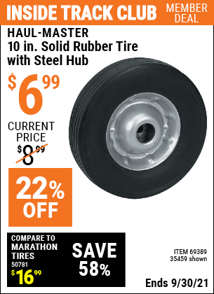 Harbor Freight Tools Coupons, Harbor Freight Coupon, HF Coupons-10 in. Solid Rubber Tire with Steel Hub