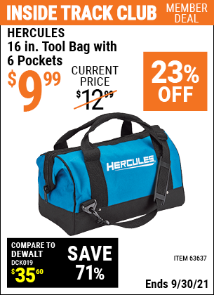 Harbor Freight Tools Coupons, Harbor Freight Coupon, HF Coupons-Hercules 16 In. Tool Bag