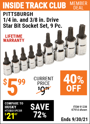 Harbor Freight Tools Coupons, Harbor Freight Coupon, HF Coupons-PITTSBURGH - 1/4 In. And 3/8 In. Drive Star Bit Socket Set, 9 Pc.