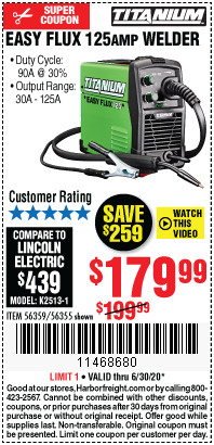 Harbor Freight Tools Coupons, Harbor Freight Coupon, HF Coupons-TITANIUM Titanium Easy-Flux 125 Amp Welder for $179.99