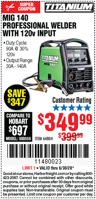Harbor Freight Tools Coupons, Harbor Freight Coupon, HF Coupons-TITANIUM MIG 140 Professional Welder with 120 Volt Input for $349.99