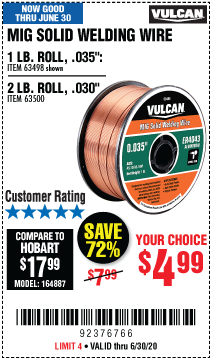 Harbor Freight Tools Coupons, Harbor Freight Coupon, HF Coupons-VULCAN 0.035 in. ER4043 MIG Solid Welding Wire 1.00 lb. Roll for $4.99