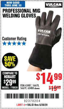 Harbor Freight Tools Coupons, Harbor Freight Coupon, HF Coupons-VULCAN Professional MIG Welding Gloves for $14.99