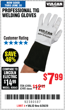 Harbor Freight Tools Coupons, Harbor Freight Coupon, HF Coupons-VULCAN Professional TIG Welding Gloves for $7.99