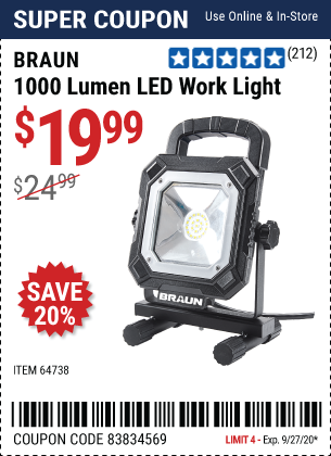 Harbor Freight Tools Coupons, Harbor Freight Coupon, HF Coupons-BRAUN 1000 Lumen LED Work Light for $19.99