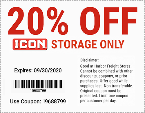 Harbor Freight Tools Coupons, Harbor Freight Coupon, HF Coupons-20% Off ICON Storage - Valid through 9/30/20