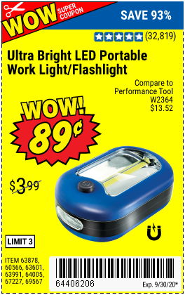 Harbor Freight Tools Coupons, Harbor Freight Coupon, HF Coupons-Ultra Bright LED Portable Worklight/Flashlight for $0.89