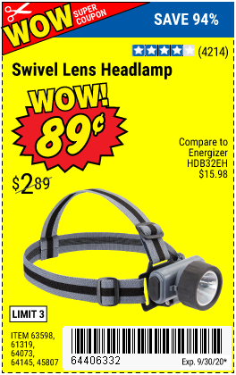 Harbor Freight Tools Coupons, Harbor Freight Coupon, HF Coupons-HFT Swivel Lens LED Headlamp for $0.89