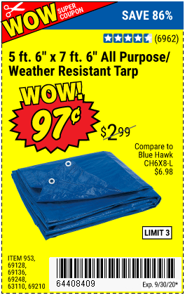 Harbor Freight Tools Coupons, Harbor Freight Coupon, HF Coupons-HFT 5 ft. 6 in. x 7 ft. 6 in. Blue All Purpose/Weather Resistant Tarp for $0.97