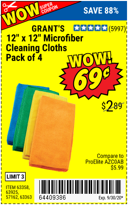 Harbor Freight Tools Coupons, Harbor Freight Coupon, HF Coupons-GRANT'S Microfiber Cleaning Cloth 12 in. x 12 in. 4 Pk. for $0.69