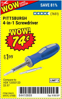 Harbor Freight Tools Coupons, Harbor Freight Coupon, HF Coupons-PITTSBURGH 4-in-1 Screwdriver with TPR Handle for $0.74