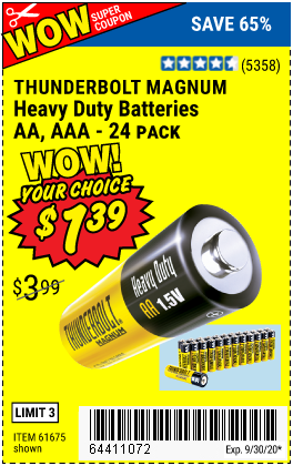 Harbor Freight Tools Coupons, Harbor Freight Coupon, HF Coupons-THUNDERBOLT Heavy Duty Batteries for $1.39