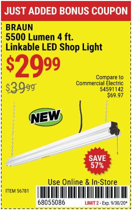 Harbor Freight Tools Coupons, Harbor Freight Coupon, HF Coupons-BRAUN 5500 Lumen 4 Ft. Linkable LED Shop Light for $29.99