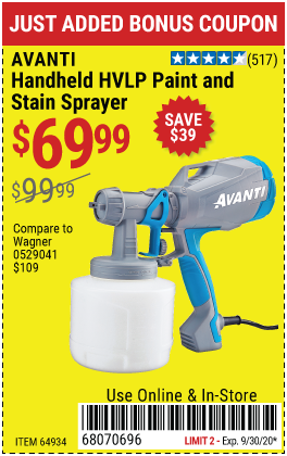 Harbor Freight Tools Coupons, Harbor Freight Coupon, HF Coupons-AVANTI Handheld HVLP Paint & Stain Sprayer for $69.99