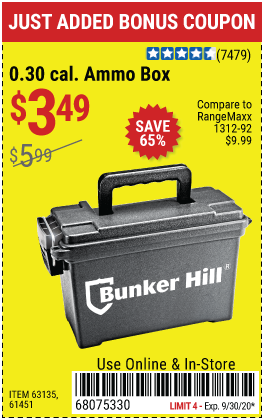 Harbor Freight Tools Coupons, Harbor Freight Coupon, HF Coupons-BUNKER HILL SECURITY Ammo Dry Box for $3.49